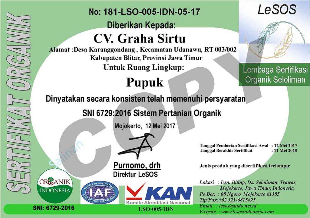 sertifikasi pupuk organik